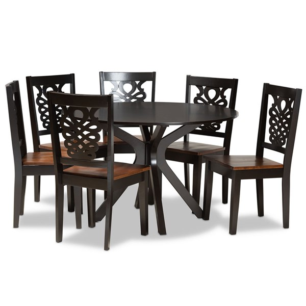 Baxton Studio Liese Two Tone Brown Wood 7pc Dining Room Sets BAX-Liese-7PC-DR-VAR