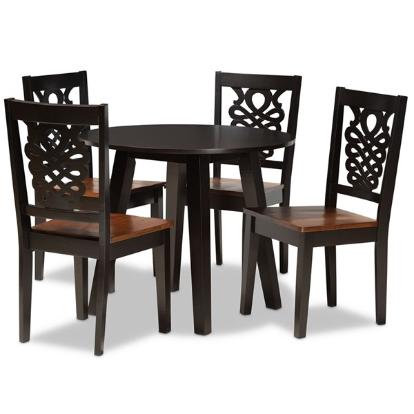 Baxton Studio Mina Two Tone Dark Brown Walnut Wood 5pc Dining Room Set BAX-MINA-DBR-WL-5PCDINSET
