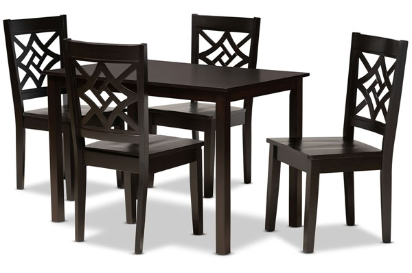 Baxton Studio Nicolette Dark Brown 5pc Dining Set BAX-RH340C-DBR-5PC-DIN-SET