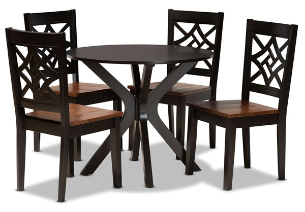 Baxton Studio Miela Dark Brown Walnut 5pc Dining Set BAX-Miela-DBR-WL-5PC-DIN-SET