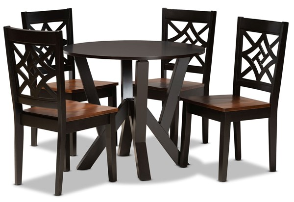 Baxton Studio Kaila Dark Brown Walnut 5pc Dining Set BAX-Kaila-DBR-WL-5PC-DIN-SET