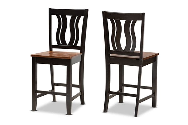 2 Baxton Studio Fenton Dark Brown Walnut Counter Stools BAX-RH338P-DBR-WL-SCPST-PC