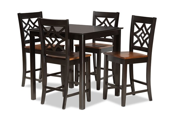 Baxton Studio Nicolette Dark Brown Walnut 5pc Pub Set BAX-RH340P-DBR-WL-5PCPUBSET