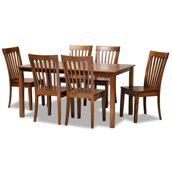 Baxton Studio Erion Walnut Brown Wood 7pc Dining Set BAX-ERION-WLNT-7PC-DINING-SET