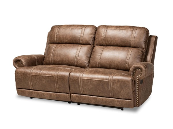 Baxton Studio Buckley Light Brown Black Reclining Sofa BAX-7075I53-LGT-BRN-SOFA