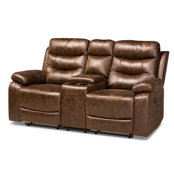 Baxton Studio Beasely Distressed Brown Faux Leather Reclining Loveseat BAX-RR5227-DBR-LOVESEAT