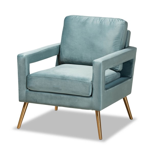 Baxton Studio Leland Light Blue Gold Stainless Steel Armchair BAX-TSF-6729-LGTBLUGLD-CC