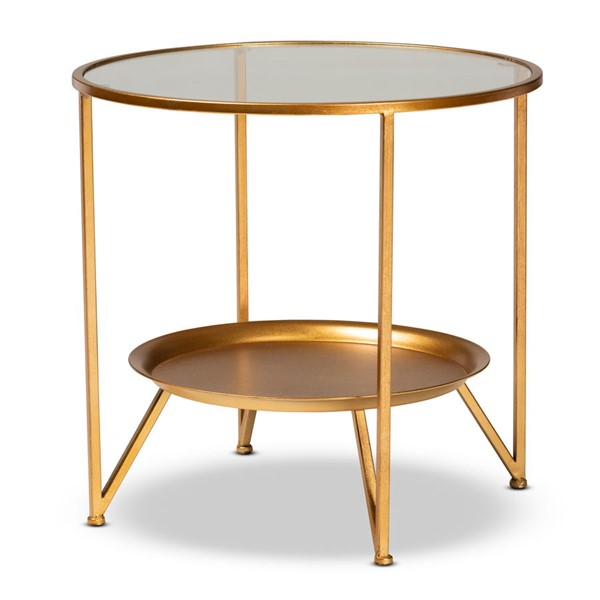Baxton Studio Tasmin Antique Gold Clear Accent Table with Tray Shelf BAX-HE17T115-ET-Clear-Top