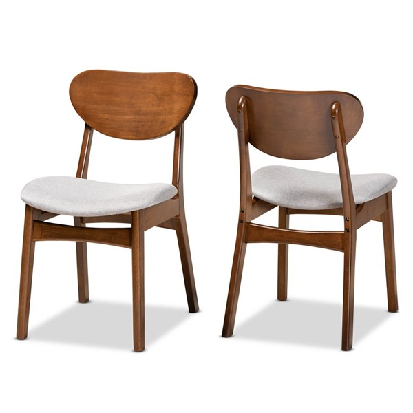 2 Baxton Studio Katya Grey Fabric Walnut Brown Wood Dining Chairs BAX-RH378C-GW-BentSeat-DC-2PK