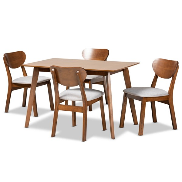 Baxton Studio Damara Grey Fabric Walnut Brown Wood 5pc Dining Set BAX-RH367C-GW-5PC-Dining-Set