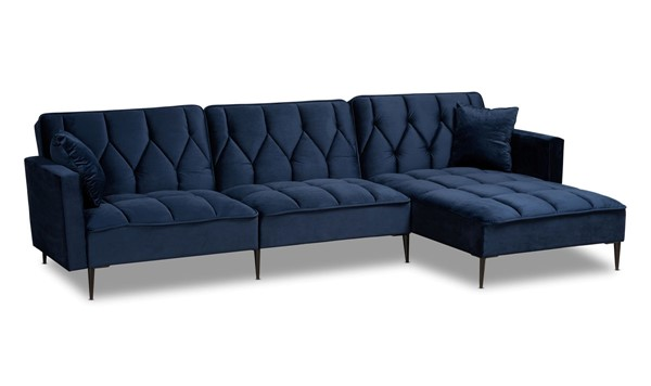Baxton Studio Galena Navy Blue Black Sectional Sofa with Right Facing Chaise BAX-RDS-S0019L-NBLVELBLK-RFC