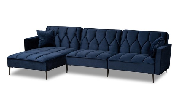 Baxton Studio Galena Navy Blue Black Sectional Sofa with Left Facing Chaise BAX-RDS-S0019L-NBLVELBLK-LFC