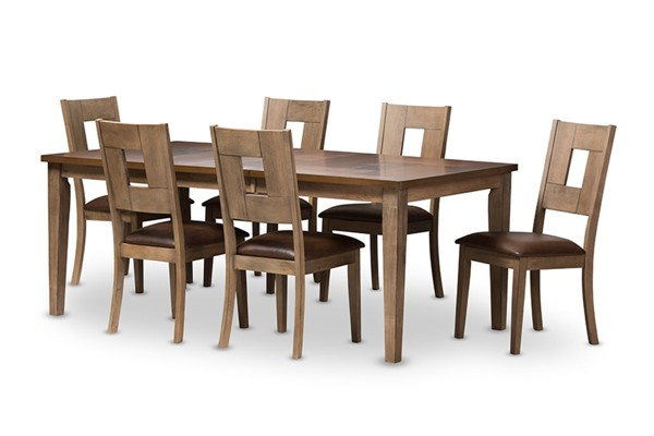 Baxton Studio Gillian Dark Brown Fabric Oak Brown Wood 7pc Extendable Dining Set BAX-TBC-15274-Dark-Brown-Grey-7PC-Set