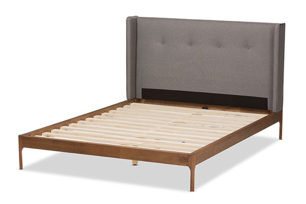 Baxton Studio Brooklyn Grey Fabric Walnut Wood Queen Platform Bed BAX-BBT6653-Grey-Queen-XD45