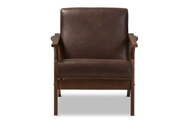 Baxton Studio Bianca Dark Brown Faux Leather Lounge Chair BAX-Bianca-Dark-Brown-Walnut-Brown-CC