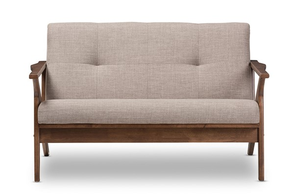 Baxton Studio Bianca Light Grey Fabric 2 Seater Loveseat BAX-Bianca-Light-Grey-Walnut-Brown-LS