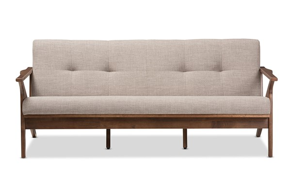 Baxton Studio Bianca Light Grey Fabric 3 Seater Sofa BAX-Bianca-Light-Grey-Walnut-Brown-SF