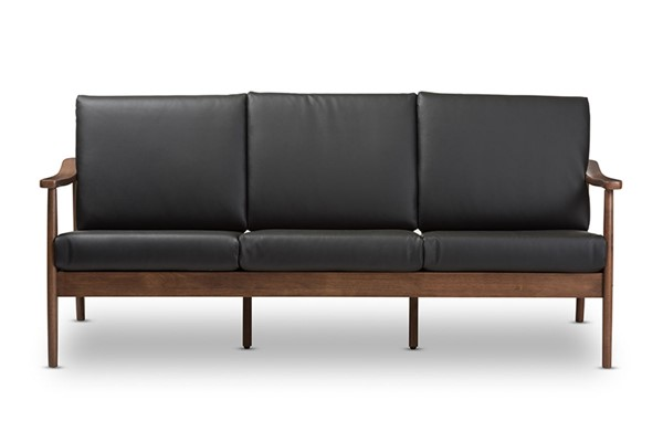 Baxton Studio Venza Black Faux Leather 3 Seater Sofa BAX-Venza-Black-Walnut-Brown-SF