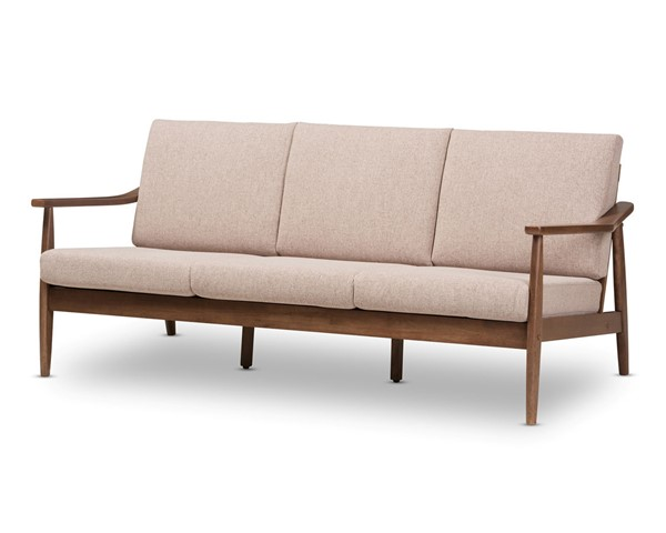 Baxton Studio Venza Light Brown Fabric Upholstered 3 Seater Sofa BAX-VENZA-BR-WAL-BR-SF
