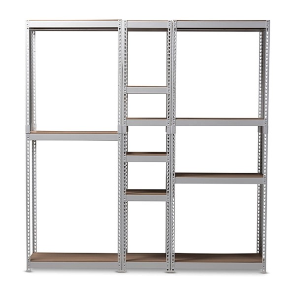 Baxton Studio Gavin White Metal 10 Shelf Closet Storage Racking Organizer BAX-WH06-WH09-WH12-White-Shelf