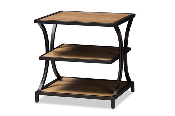 Baxton Studio Lancashire Oak Brown 2 Shelves End Table BAX-YLX-0004-ET