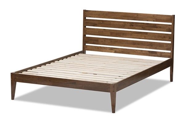 Baxton Studio Elmdon Walnut Wood Slatted Headboard Full Platform Bed BAX-SW8066-Walnut-M17-Full