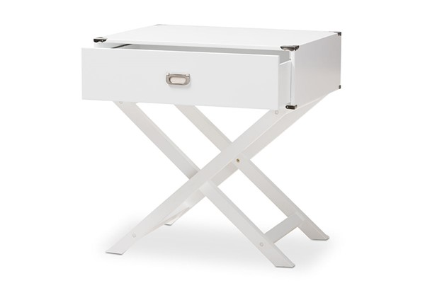 Baxton Studio Curtice White Wood 1 Drawer Bedside Table BAX-GDL7628-White-CT