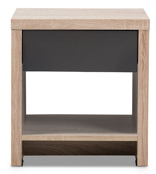 Baxton Studio Jamie Light Brown Wood 1 Drawer Night Stand BAX-JMNT0024-HANA-OAK-DGY-NS