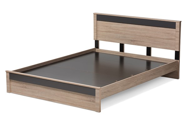 Baxton Studio Jamie Light Brown Wood Queen Platform Bed BAX-JMQB002291-Hana-Oak-Dark-Grey-Queen