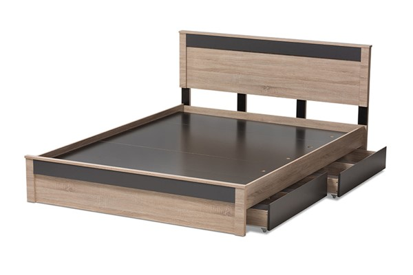 Baxton Studio Jamie Light Brown Wood 2 Drawers Storage Queen Platform Bed BAX-JMQB002291-OK-DGY-2DW-Q