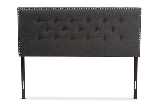 Baxton Studio Windsor Dark Grey Fabric Queen Headboard BAX-BBT6691-Dark-Grey-Queen-HB-H1217-20