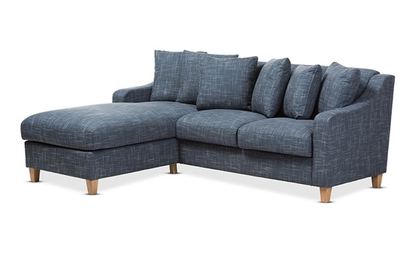 Baxton Studio Winslow Blue Fabric Upholstered 2pc Left Facing Sectional BAX-BBT8032L-Shaker-Blue-LFC