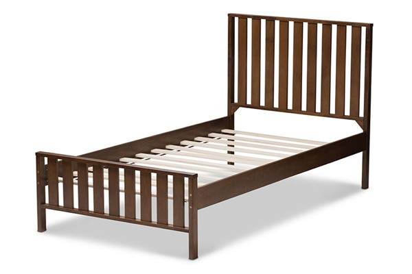 Baxton Studio Harlan Walnut Brown Wood Twin Platform Bed BAX-HT1701-Walnut-Brown-Twin