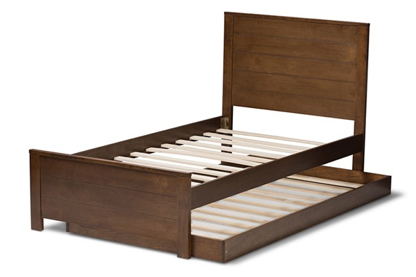 Baxton Studio Catalina Walnut Brown Wood Twin Platform Bed with Trundle BAX-HT1702-WL-BR-T-TRDL