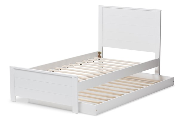 Baxton Studio Catalina White Wood Twin Platform Bed with Trundle BAX-HT1702-White-Twin-TRDL