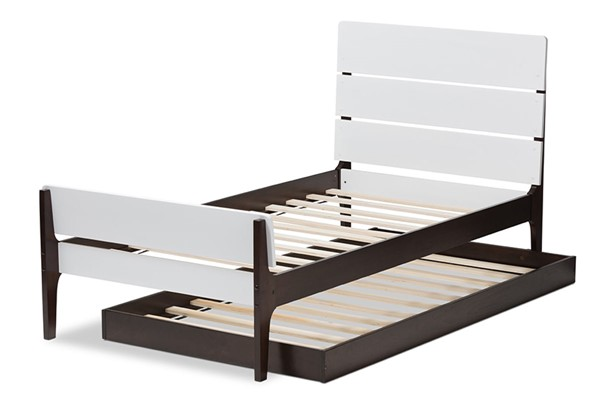 Baxton Studio Nereida White Brown Wood Twin Platform Bed with Trundle BAX-HT1703-WH-ES-BR-T-TRDL