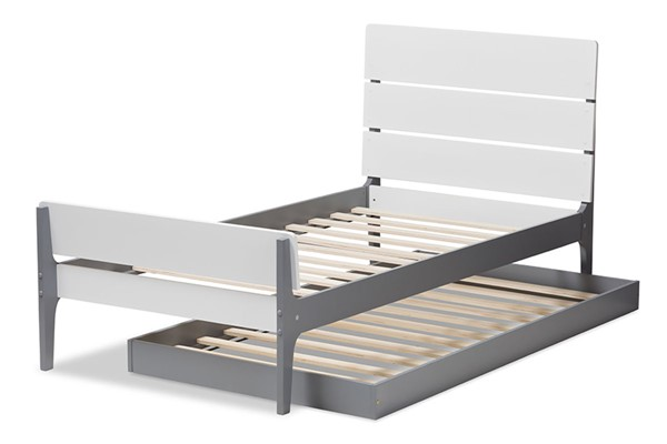 Baxton Studio Nereida White Grey Wood Twin Platform Bed with Trundle BAX-HT1703-White-Grey-Twin-TRDL