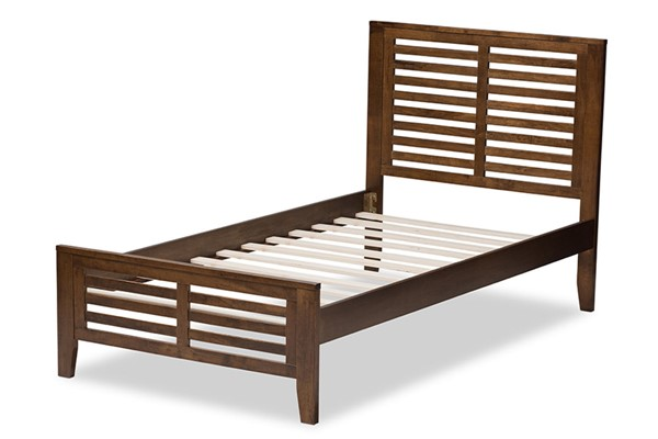 Baxton Studio Sedona Walnut Brown Wood Twin Platform Bed BAX-HT1704-Walnut-Brown-Twin