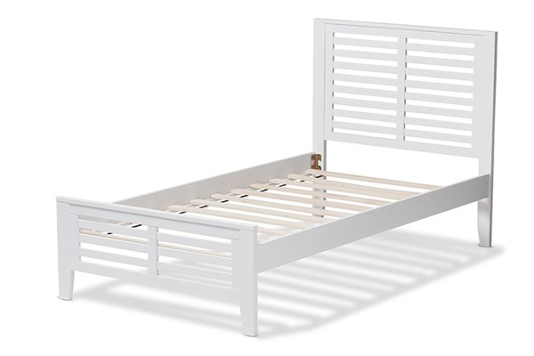Baxton Studio Sedona White Wood Twin Platform Bed BAX-HT1704-White-Twin