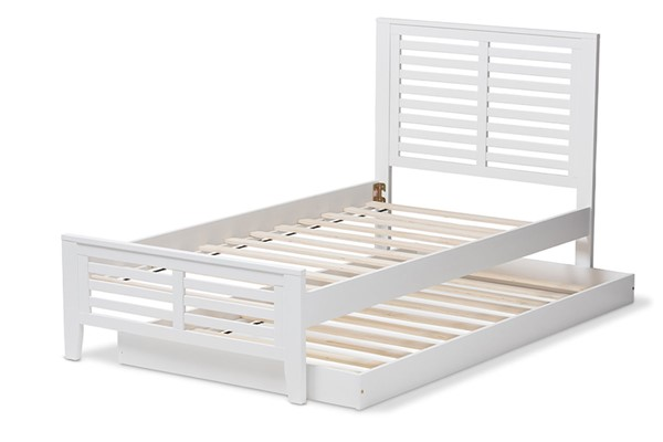 Baxton Studio Sedona White Wood Twin Platform Bed with Trundle BAX-HT1704-White-Twin-TRDL