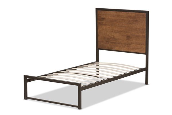 Baxton Studio Santa Brown Wood Black Metal Twin Platform Bed BAX-TS1144-Brown-Black-Twin