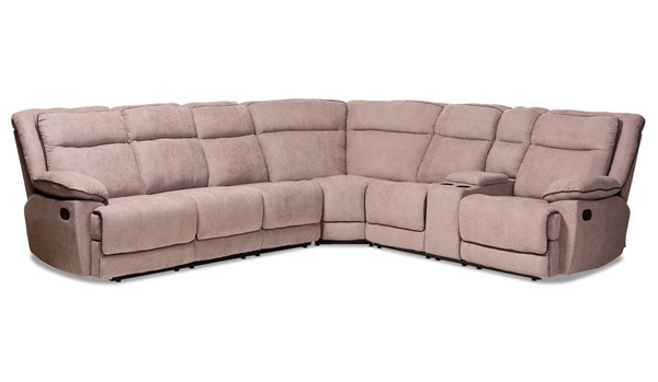Baxton Studio Sabella Taupe Fabric 7pc Reclining Sectional BAX-RX038A-TAUPE-SF