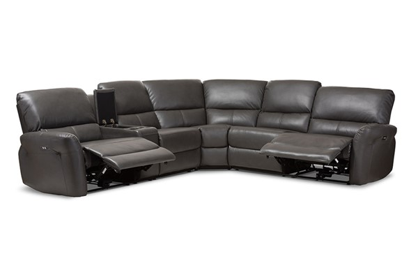 Baxton Studio Amaris Grey Bonded Leather 5pc Power Reclining Sectional Sofa with USB Ports BAX-RX033A-Grey-SF