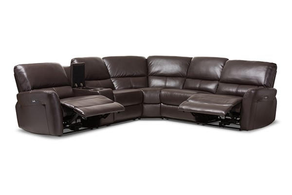 Baxton Studio Amaris Dark Brown Bonded Leather 5pc Power Reclining Sectional Sofa with USB Ports BAX-RX033A-Dark-Brown-SF