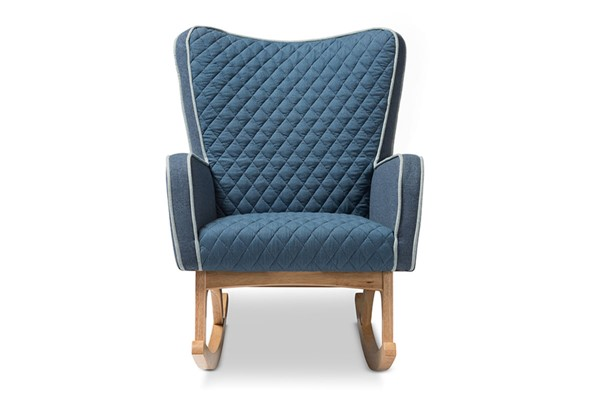 Baxton Studio Zoelle Blue Fabric Upholstered Rocking Chair BAX-BBT5305-Blue-RC
