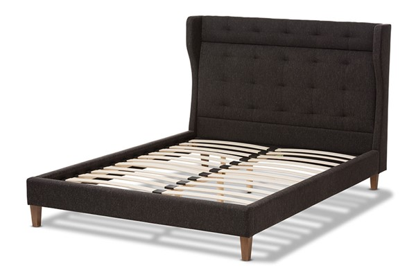 Baxton Studio Casper Dark Grey Fabric Upholstered King Platform Bed BAX-BBT6697-Charcoal-Grey-King