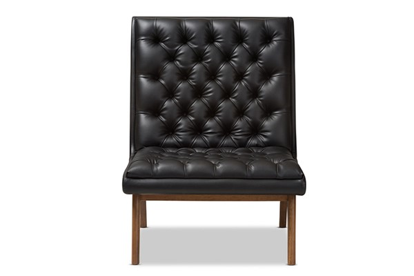 Baxton Studio Annetha Black Faux Leather Upholstered Lounge Chair BAX-BBT5272-Pine-Black-CC