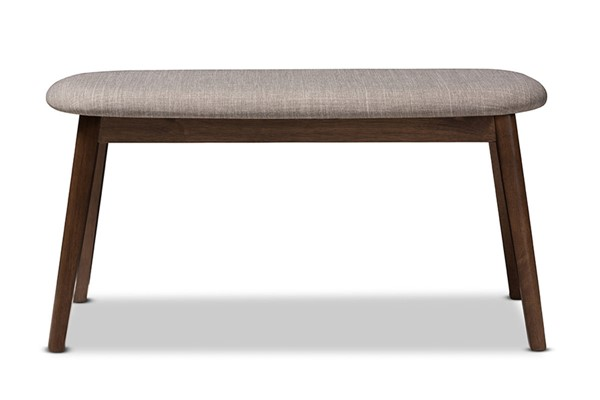 Baxton Studio Easton Modern Light Grey Fabric Walnut Wood Bench BAX-Easton-Bench-Light-Grey