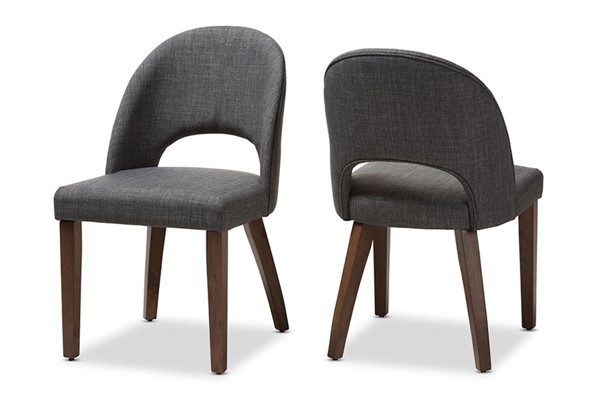 2 Baxton Studio Wesley Dark Grey Fabric Upholstered Dining Chairs BAX-Wesley-Dark-Grey-DC