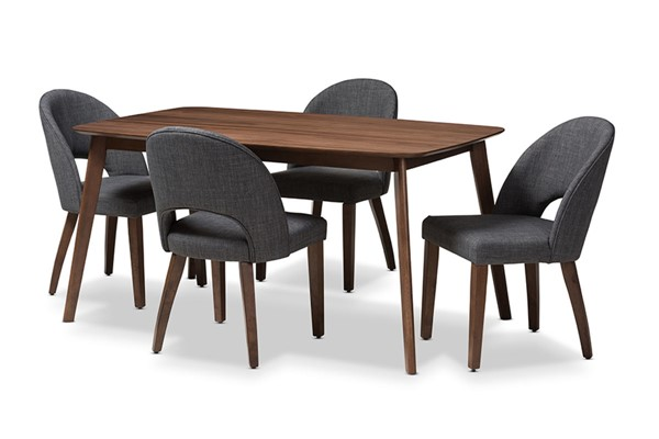 Baxton Studio Wesley Dark Grey Fabric Walnut Wood 5pc Dining Set BAX-Wesley-Dark-Grey-5PC-Dining-Set